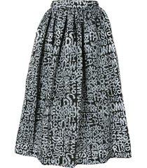 black comme des garçons text-print high-waisted skirt - grey