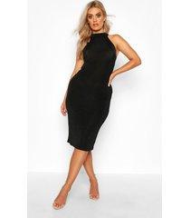 plus getextuurde strakke midi jurk met hoge hals, zwart