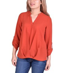 ny collection petite roll-tab-sleeve high-low blouse