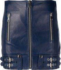 manokhi fitted moto skirt - blue