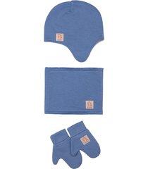 czapka zimowa z kominem i rękawiczkami dusty blue