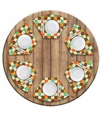 jogo americano love decor  para mesa redonda wevans quadriculado kit com 6 pçs