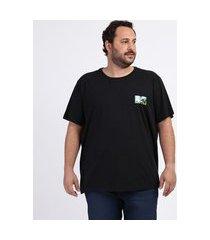 camiseta masculina plus size mtv manga curta gola careca preta