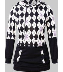 plus size argyle pattern drawstring hoodie