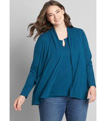 lane bryant women's open-front cardigan with pockets 34/36 legion blue
