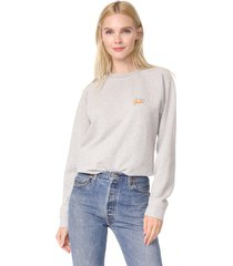 women gray cotton leroy isoli sweatshirt embroidered with croissant