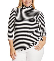vince camuto plus size striped mock-neck top