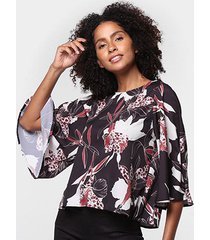blusa acostamento estampada manga 3/4 feminina