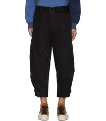 belted d-ring detail centre crease cargo pants
