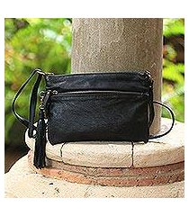 leather sling, 'vintage pouch in ebony' (indonesia)