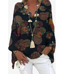 camicetta allentata a maniche lunghe con scollo a v con stampa floreale vintage