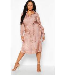plus metallic midi blouse jurk, mauve