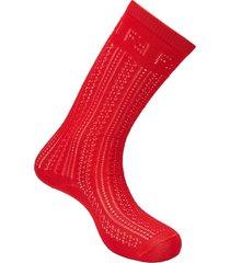 fendi open-knit socks - red