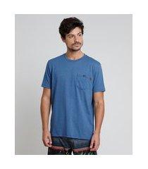camiseta masculina listrada com bolso manga curta gola careca azul