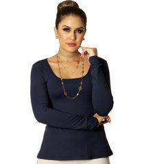 blusa ficalinda manga longa azul marinho decote redondo evasê