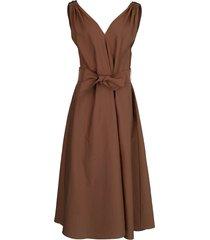 cinnamon monilli shoulder detail belted dress