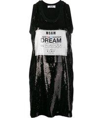 msgm sequin logo shirt dress - black