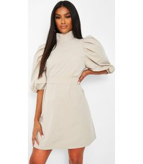 high neck puff sleeve belted shift dress, stone