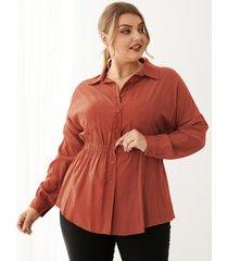 blusa de manga larga con cuello clásico y talla grande yoins