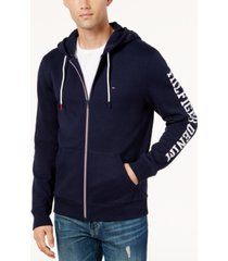 tommy hilfiger denim men's dash logo-print full-zip hoodie