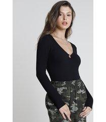 blusa feminina canelada com argola manga longa decote v preta