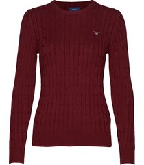 stretch cotton cable c-neck gebreide trui rood gant