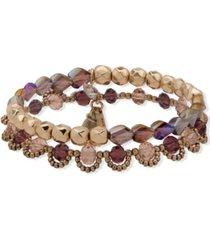 lonna & lilly gold-tone 2-pc. set beaded stretch bracelets