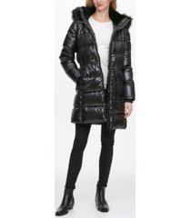 dkny high-shine faux-fur-trim hooded puffer coat, created for macy's