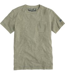 military green flamed cotton t-shirt with front pocket