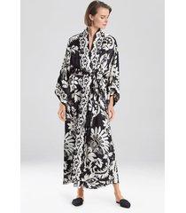 mantilla scroll robe, women's, black, 100% silk, size xs, josie natori
