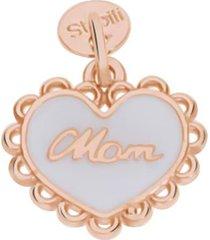 ciondolo cuore mamma in argento rosato e smalto bianco per donna