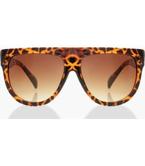 leopard flat top oversized sunglasses, brown