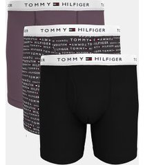 tommy hilfiger men's cotton classics boxer brief 3pk black/nine iron logo print/black plum - xl