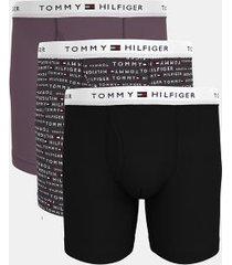tommy hilfiger men's classic cotton boxer brief 3pk black/nine iron logo print/black plum - l