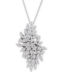 "wrapped in love diamond cluster 18"" pendant necklace (1 ct. t.w.) in 14k white gold, created for macy's"