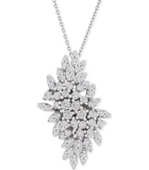 "wrapped in love diamond cluster 20"" pendant necklace (1 ct. t.w.) in 14k white gold, created for macy's"