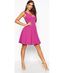 scallop plunge skater dress, jewel purple