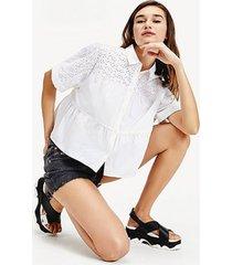 blusa fruncida con diseño calado blanco tommy jeans