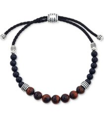 esquire men's jewelry tiger's eye (8mm) and onyx (6mm) beaded bolo bracelet in sterling silver, created for macy's