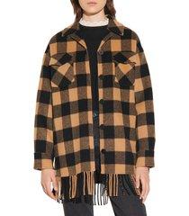 women's sandro buffalo plaid fringe hem wool blend jacket, size 4 us - black