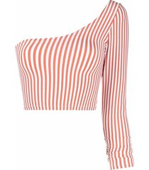 antonella rizza striped one-shoulder top - orange