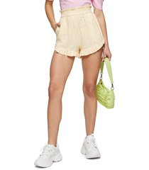 women's topshop seersucker gingham shorts, size 8 us - yellow