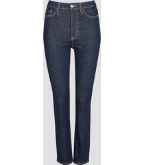 straight selma cropped jeans - mörkblå