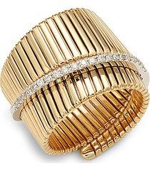 14k gold diamond embossed twist ring