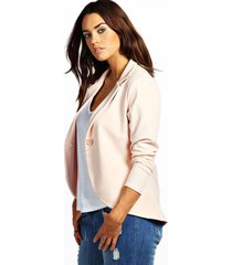 plus one button ponte blazer, nude