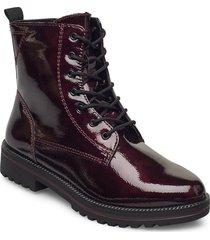 woms boots shoes boots ankle boots ankle boot - flat röd tamaris