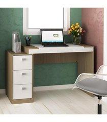 mesa para computador 3 gavetas avelã tx/branco tx - hecol