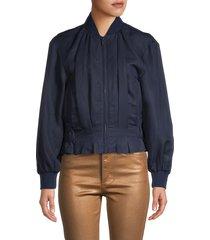 frame women's pintuck bomber jacket - navy - size s