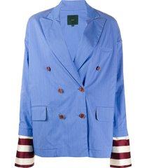 jejia contrast-cuff double breasted blazer - blue