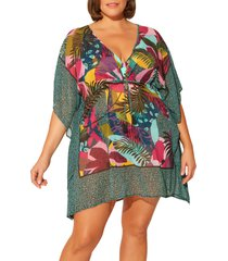 women's bleu by rod beattie jungle book chiffon cover-up caftan, size medium - pink